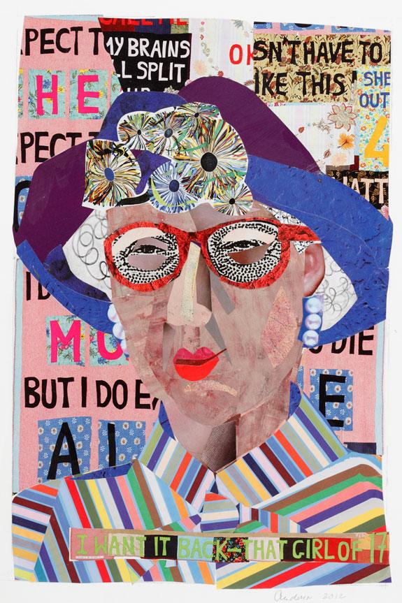 """Wonderful Old Women - No. 12 - Bessie (2012) Paper Mosaic  15""""x11"""""""