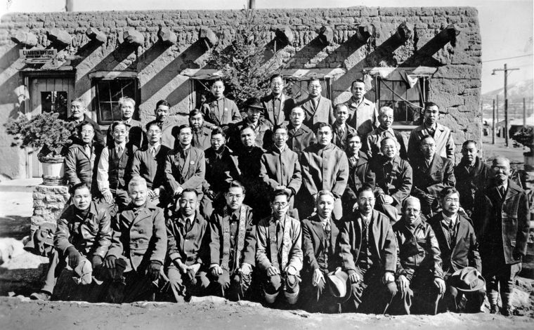 Inmates at the Japanese internment camp in Santa Fe