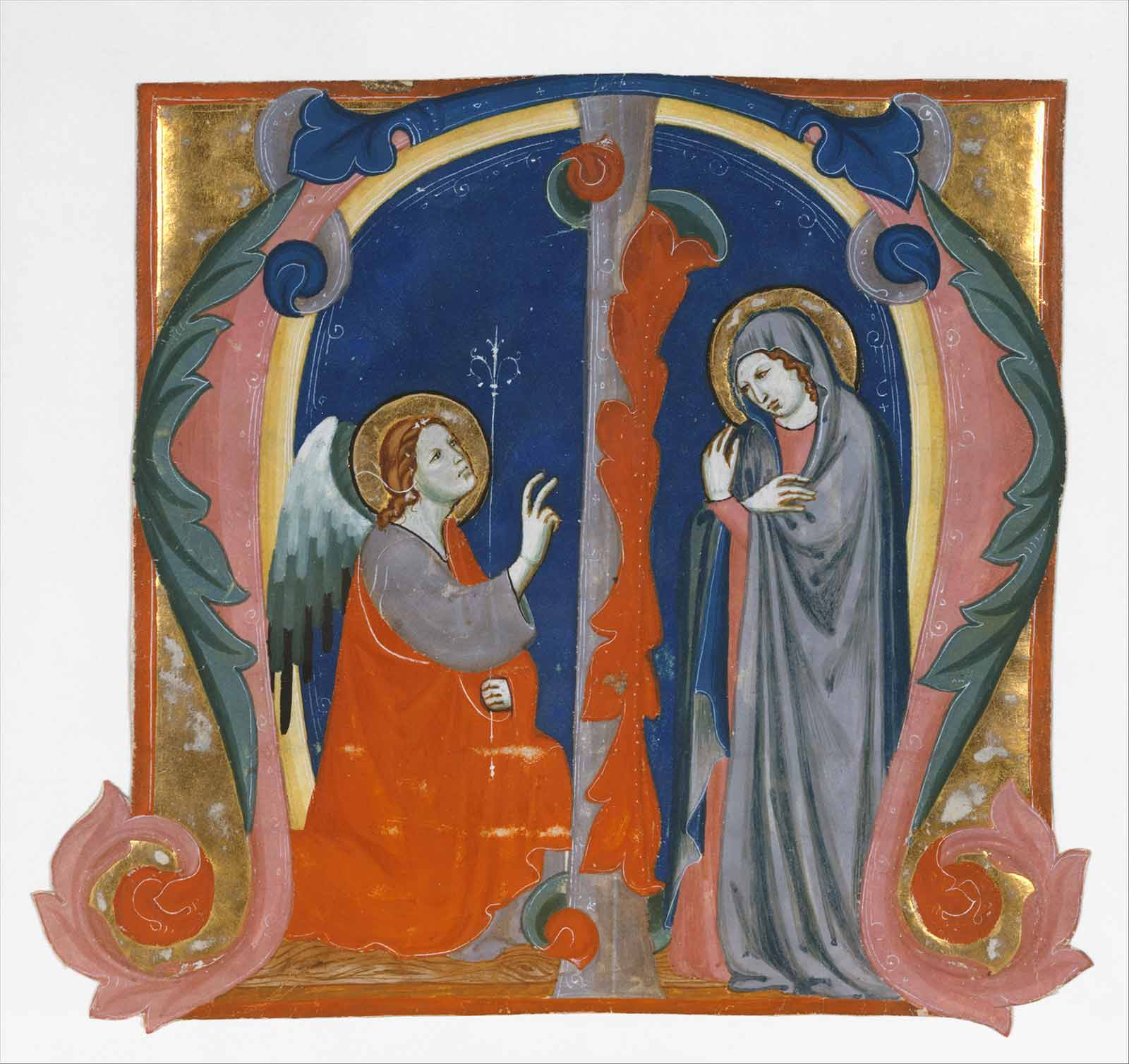 Annunciation in an Initial M