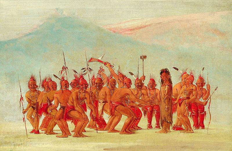 Drawn while on the Great Plains, among the Sac and Fox Indians, the sketch depicts a ceremonial dance to celebrate the two-spirit person.