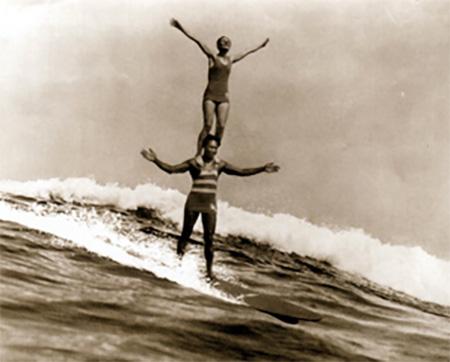 Doris Duke  and Sam Kahanamoku Surfing in Hawaii