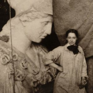 Enid Yandell with her sculpture of Pallas Athena, 1896