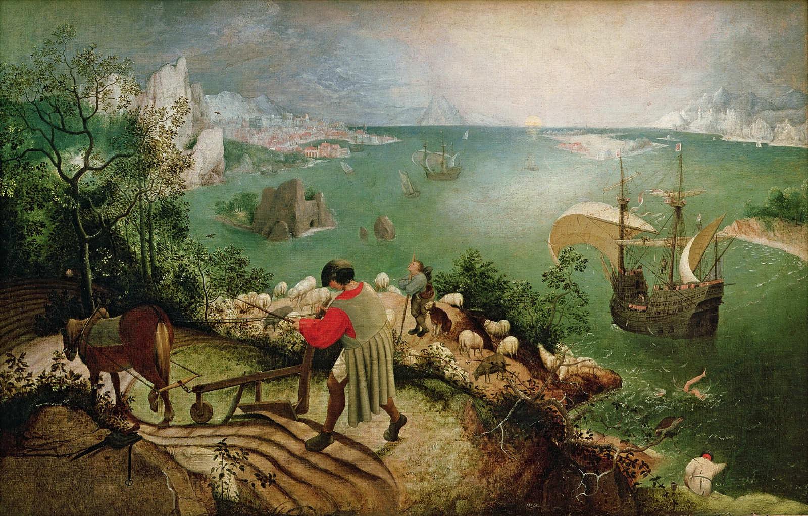 Pieter Bruegel: de Oude-De val van Icarus