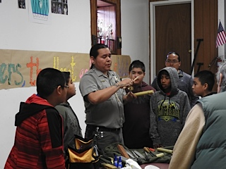 Marlon Magdalena Instructing Students in Flute Making