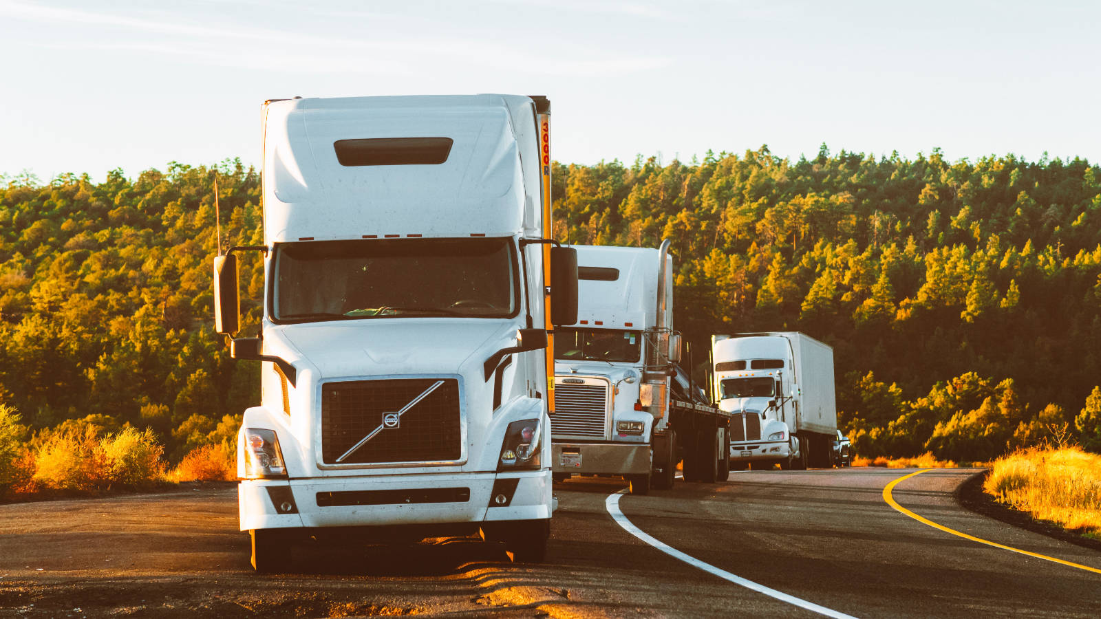 Photo of semi-trailer trucks parked off highway
