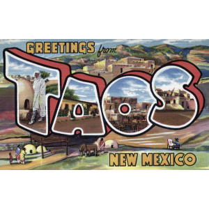 antique postcard from Taos, New Mexico